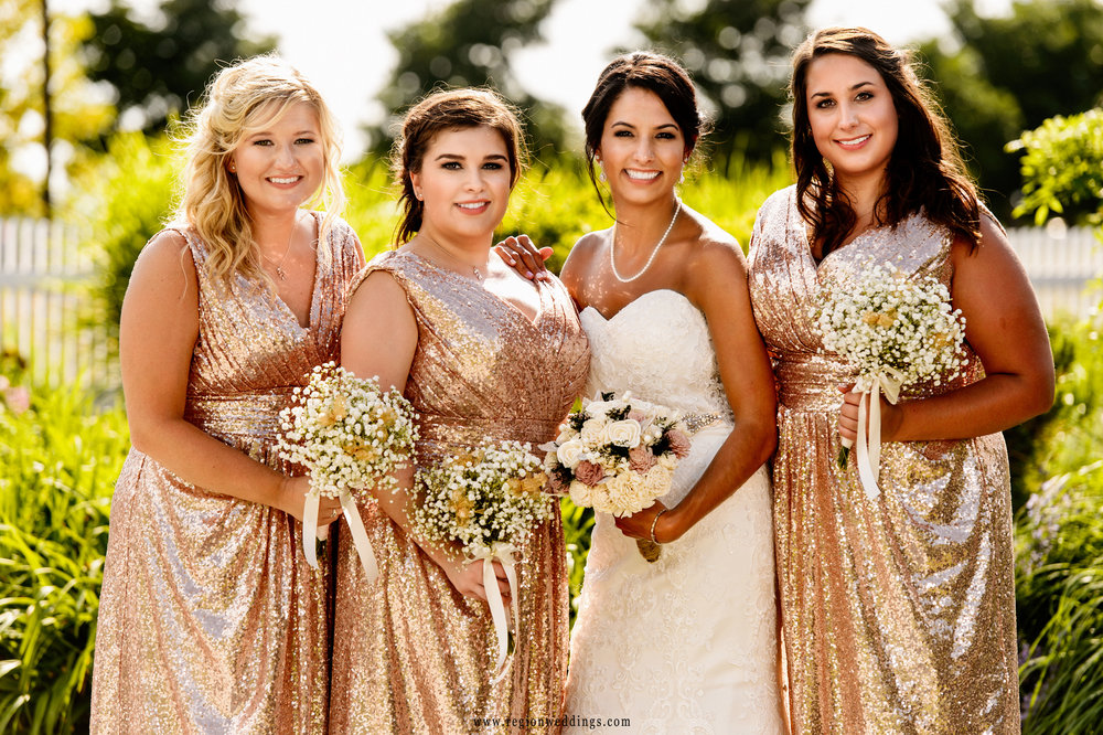 The bride and her BFF's on wedding day.