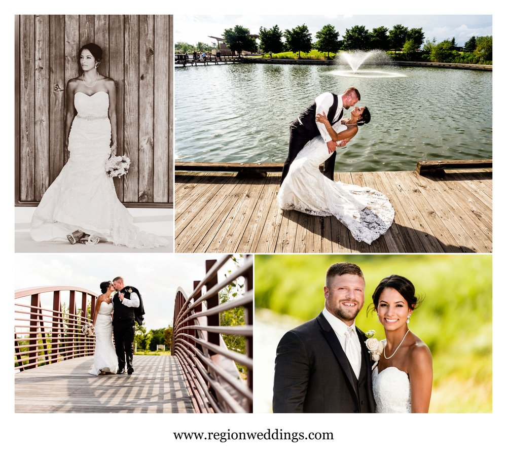 Summer wedding photos at Centennial Park in Munster, Indiana.