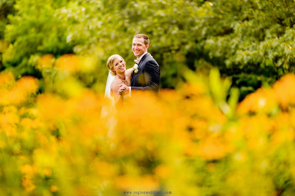 The bride and groom share a laugh among the yellow flowers at Taltree Arboretum