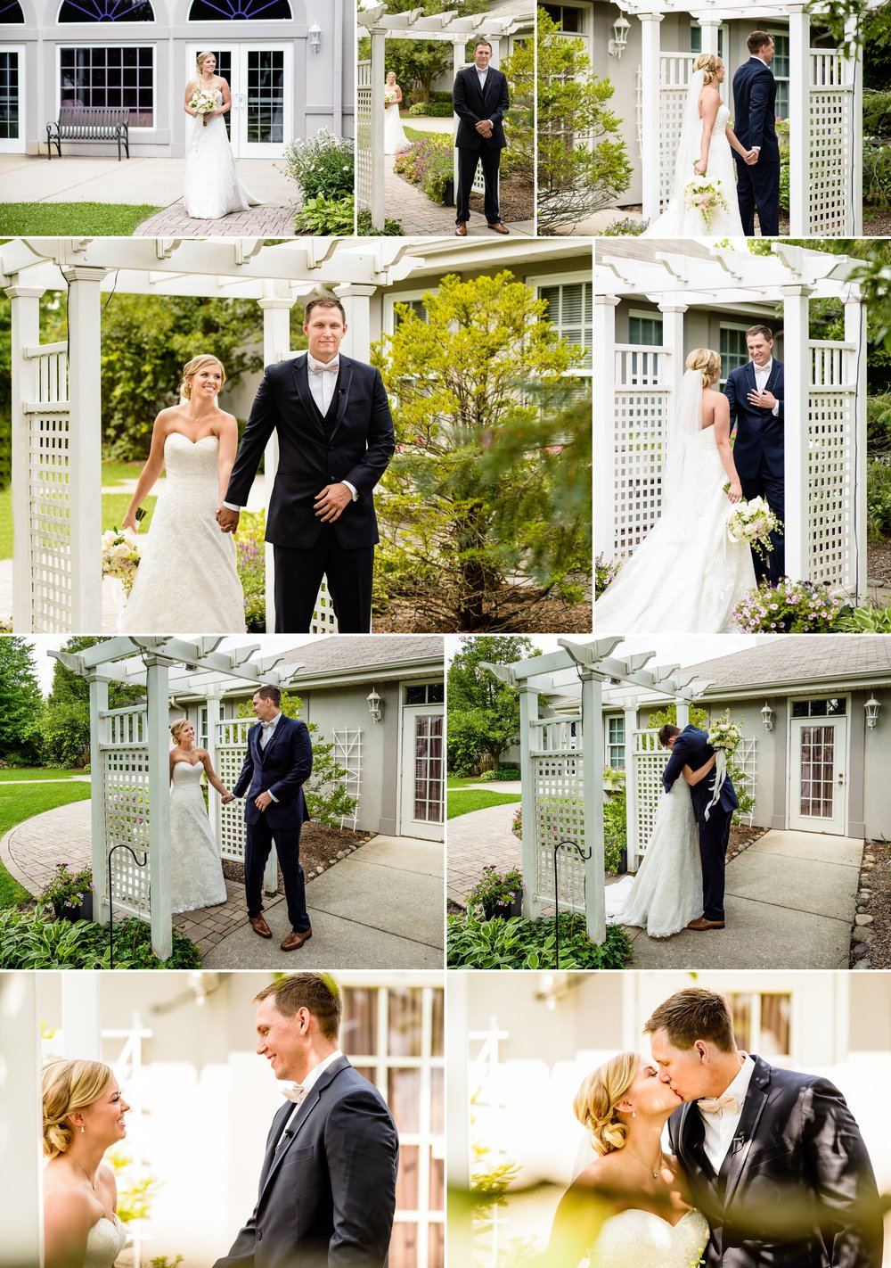 First look for the bride and groom in the garden at Aberdeen Manor.