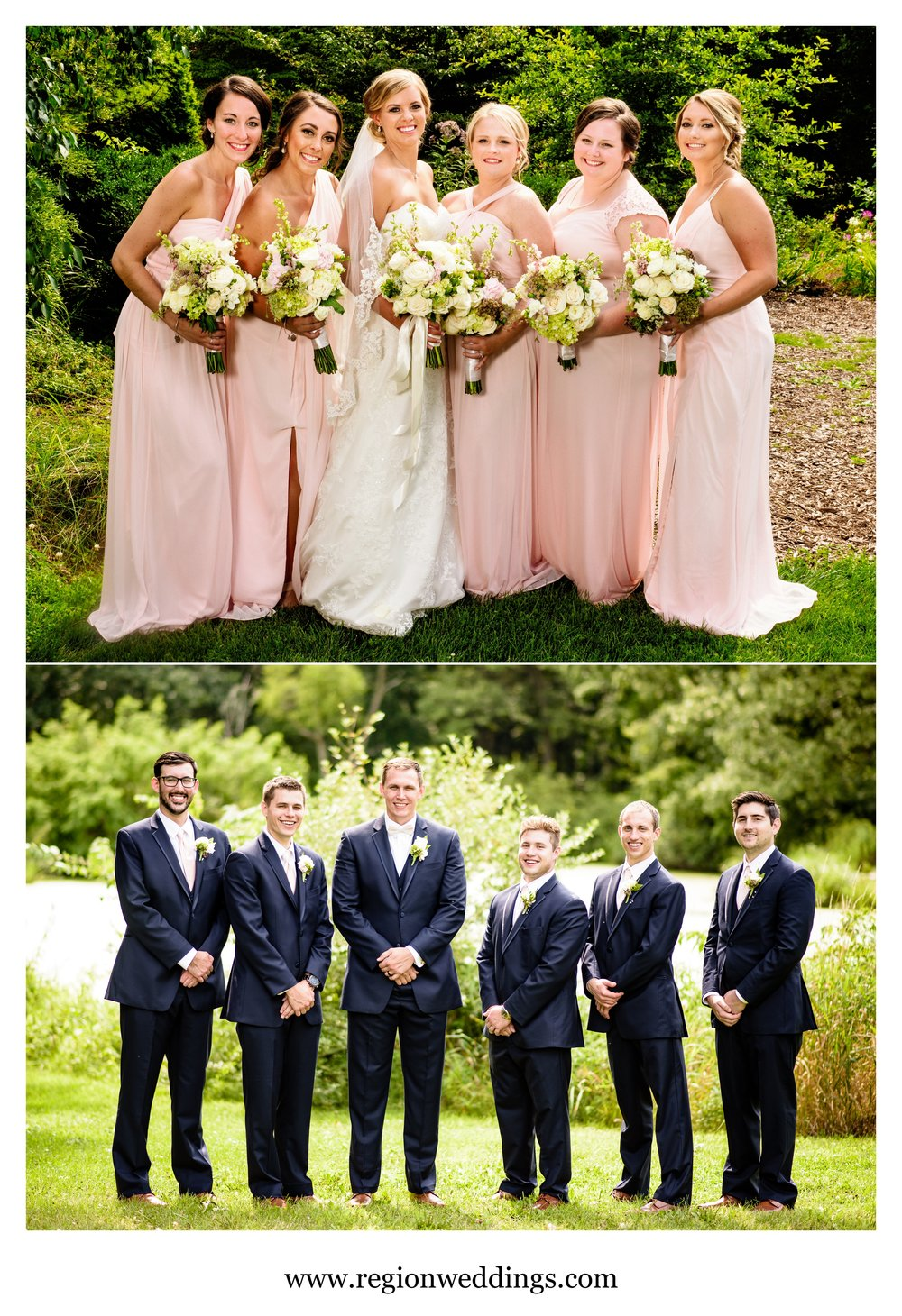 Bridesmaid and groomsmen group photos at Taltree Arboretum.