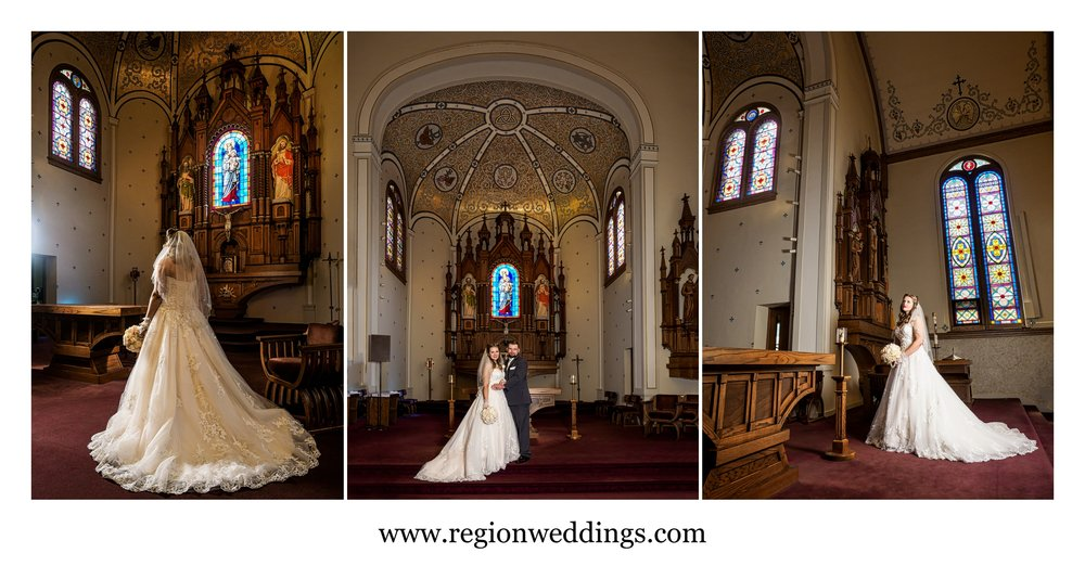 Bride and groom photos inside Saint Mary's Church.