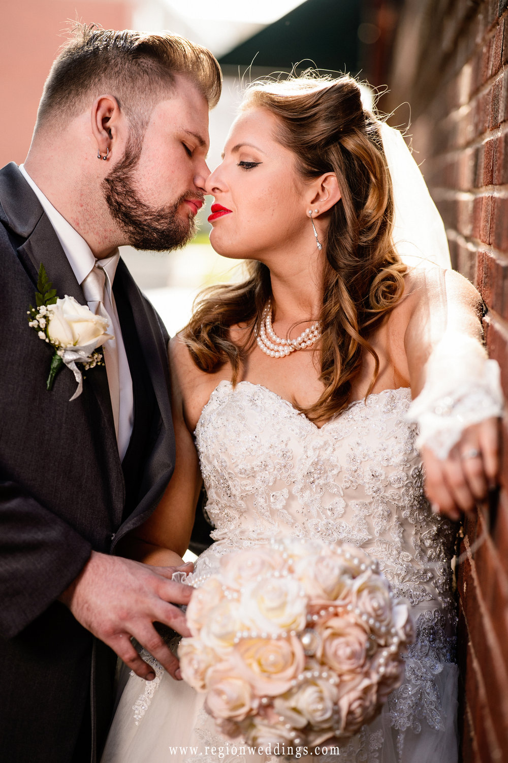 Passionate moment for the bride and groom.