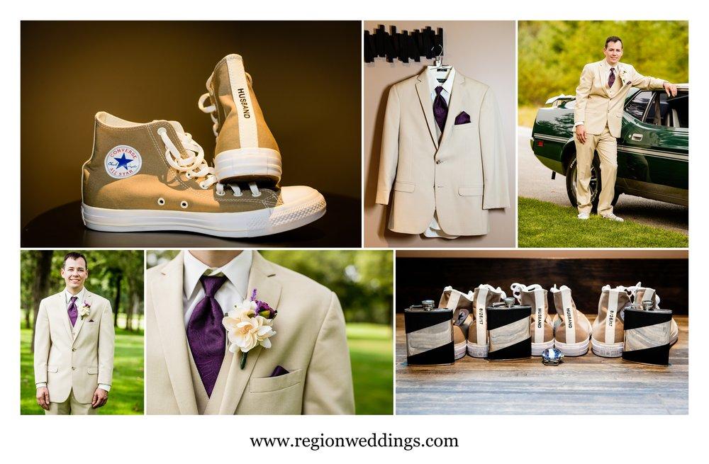 Groom wedding prep at Sandy Pines.