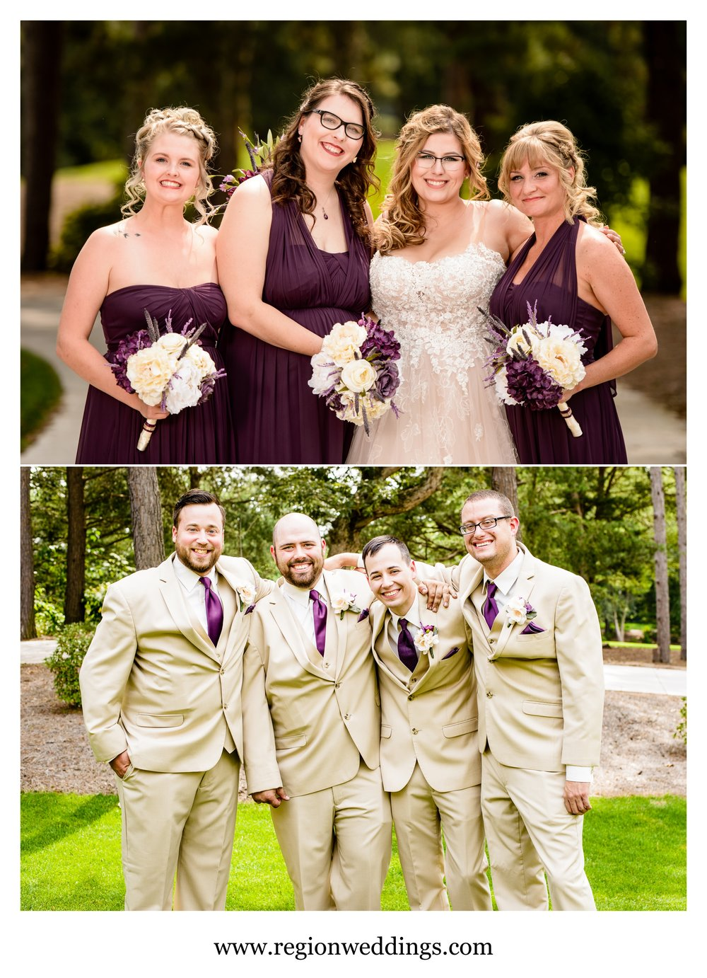 Bridesmaid and groomsmen photos at Sandy Pines Golf Course.