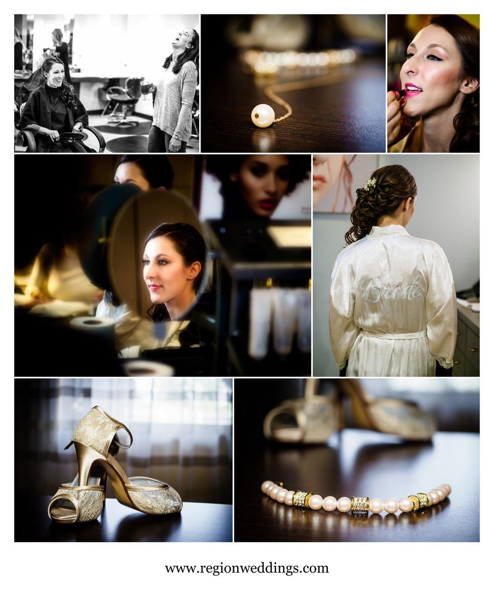 Bridal prep at Vanis Salon in Schererville, Indiana.