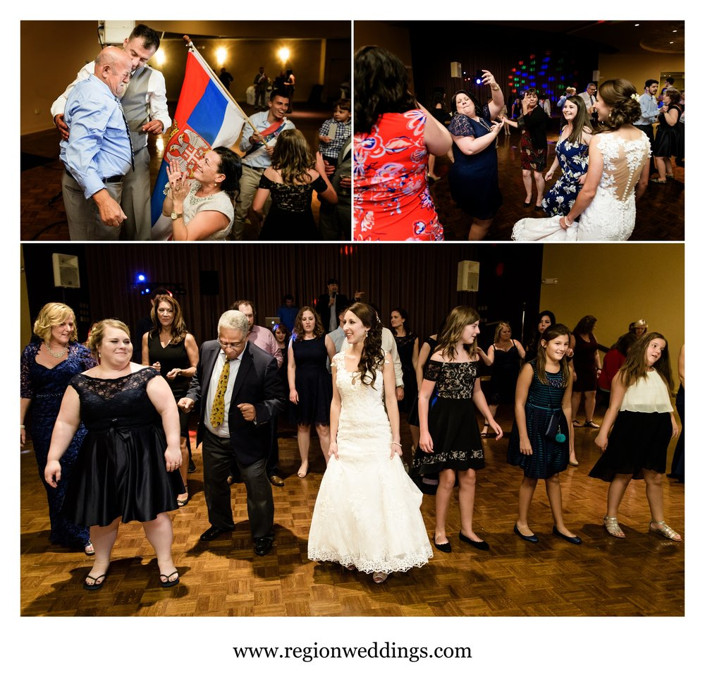 Happy tears and joyous dancing at a Serbian American wedding reception.