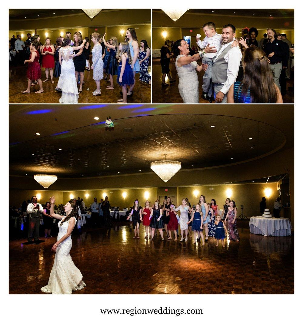 The bouquet and garter toss at a Serbian Amercian wedding.