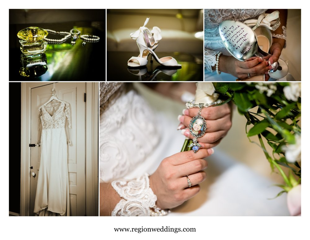 Bridal details at the Uptown Center bridal suite.