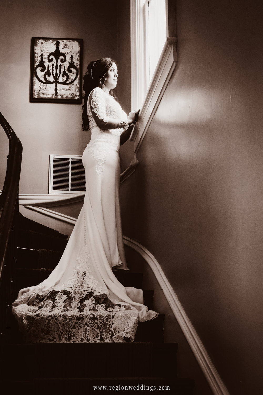 Bride on the staircase at The Uptown Center in Michigan City.