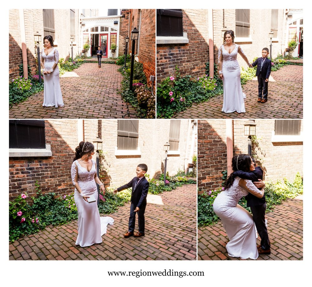 First look / reveal for the bride and her son.