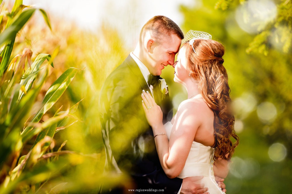 A romantic moment in the sun for the bride and groom at Meadow Springs Manor.