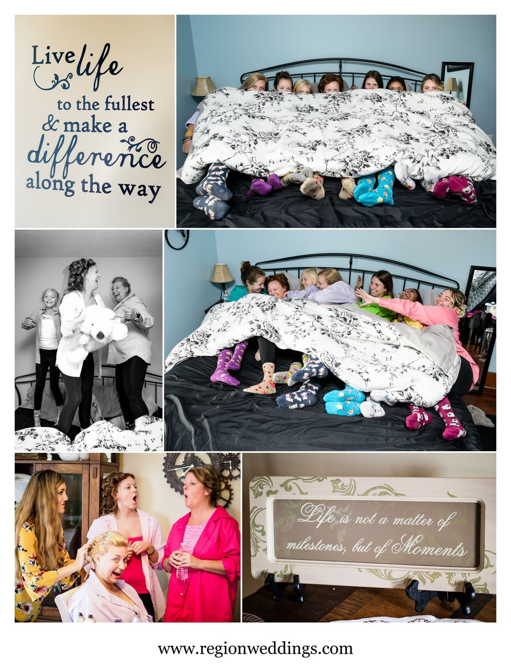 Fun photos with the bride and her bridesmaids.