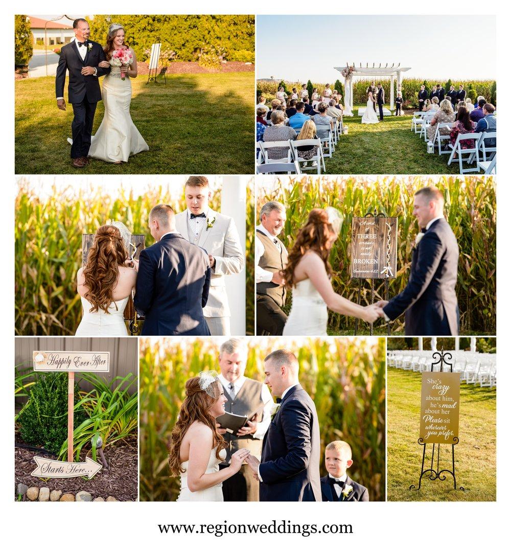 Outdoor wedding ceremony at Meadow Springs Manor.