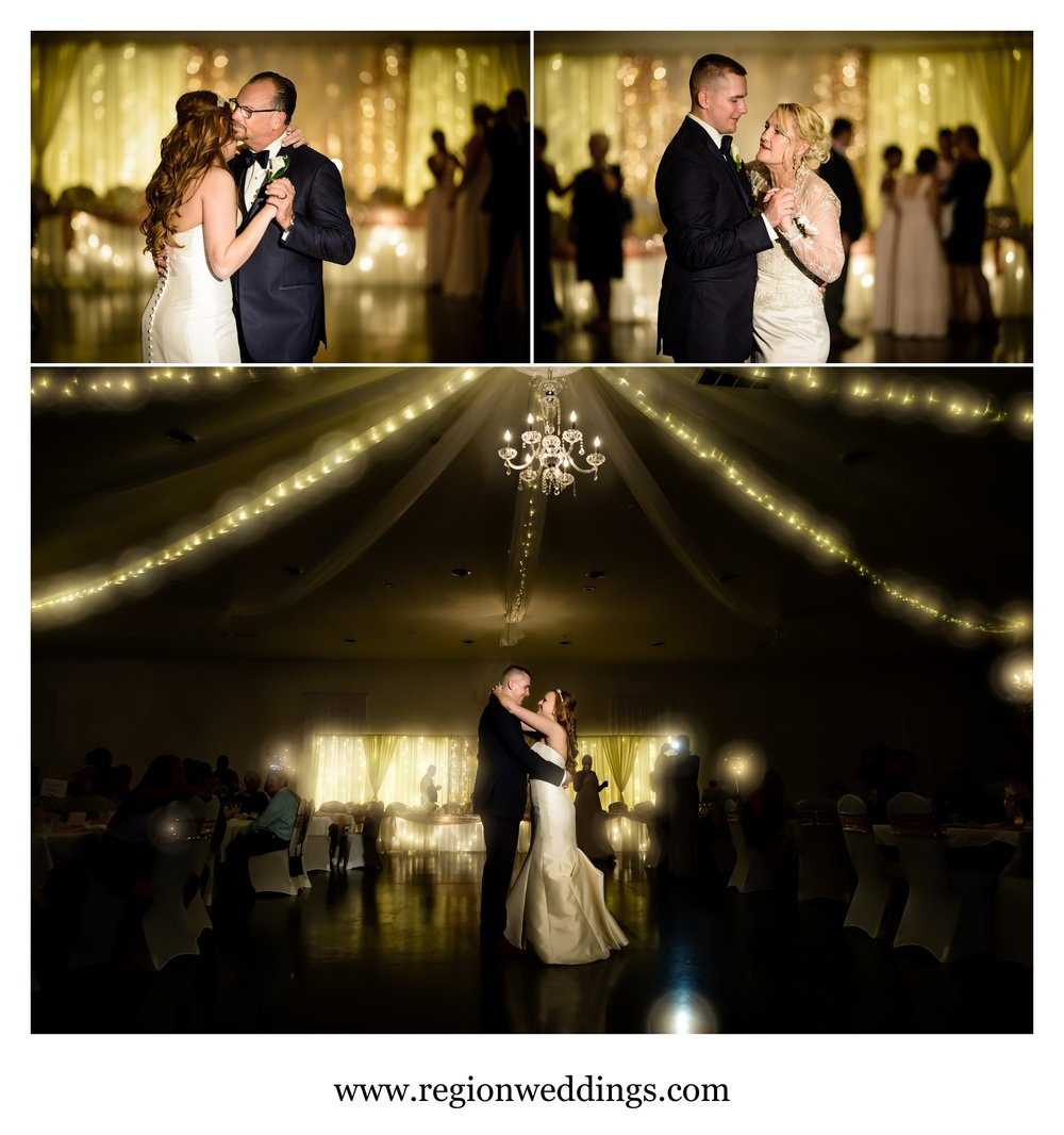 First dances for the bride and groom at Meadow Springs Manor.