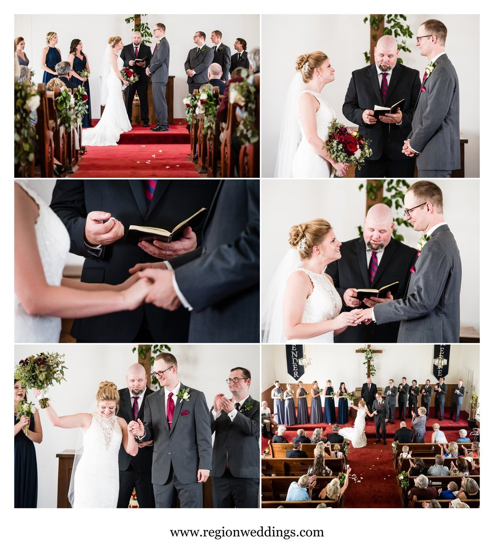Exchanging of the vows for bride and groom at their church wedding in Hebron, Indiana.