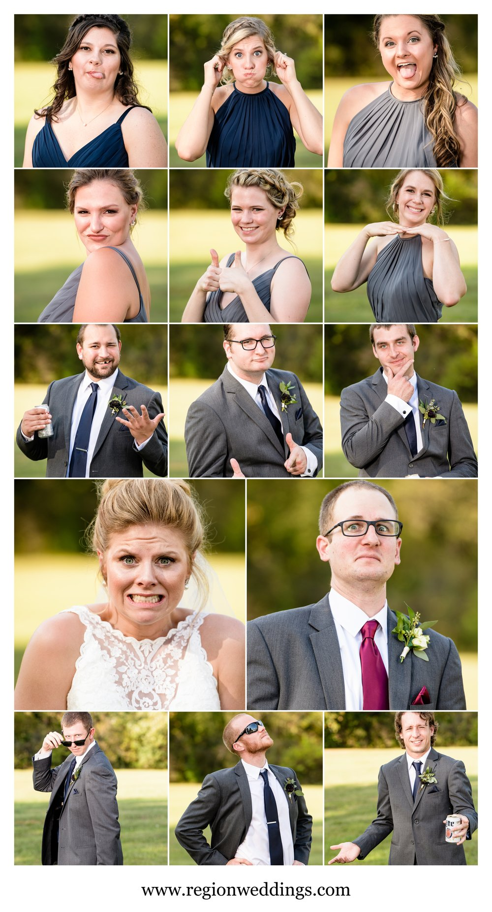 Awkward and strange wedding party portraits.