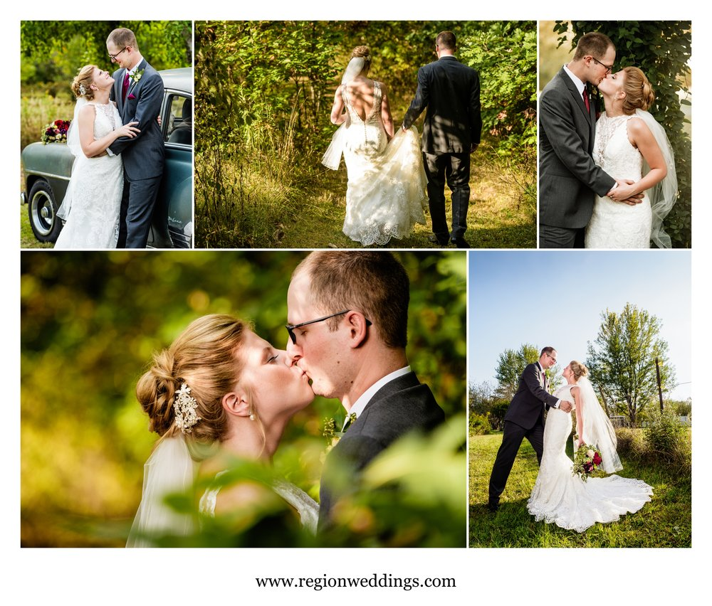 Romantic bride and groom photos in Indiana farmland.