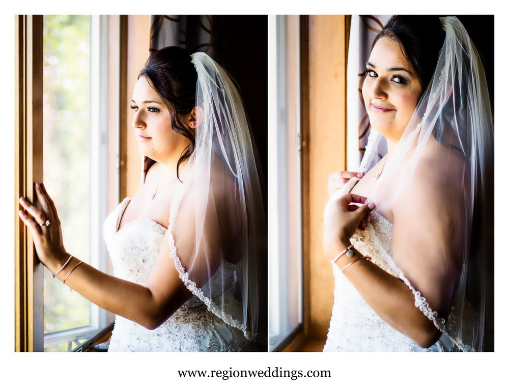 The bride illuminated by window light.