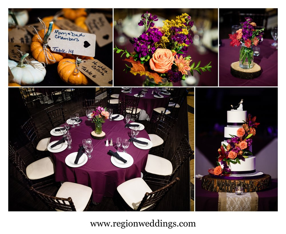 Fall wedding decorations in The Allure ballroom.