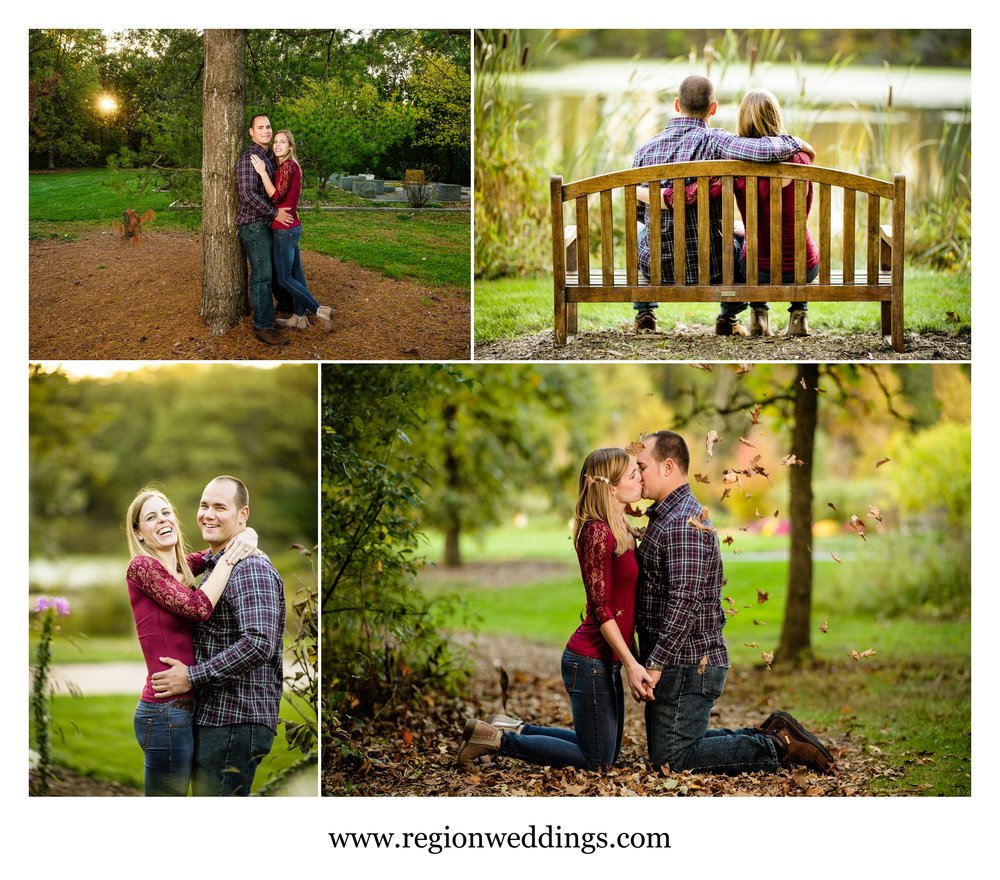 Autumn engagement photos at Taltree Arboretum.