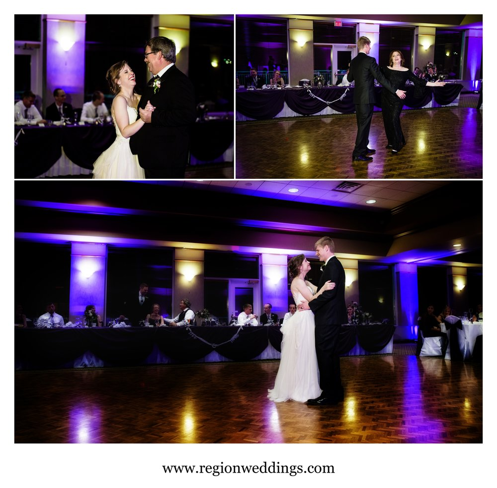 First dances for bride and groom and their parents.