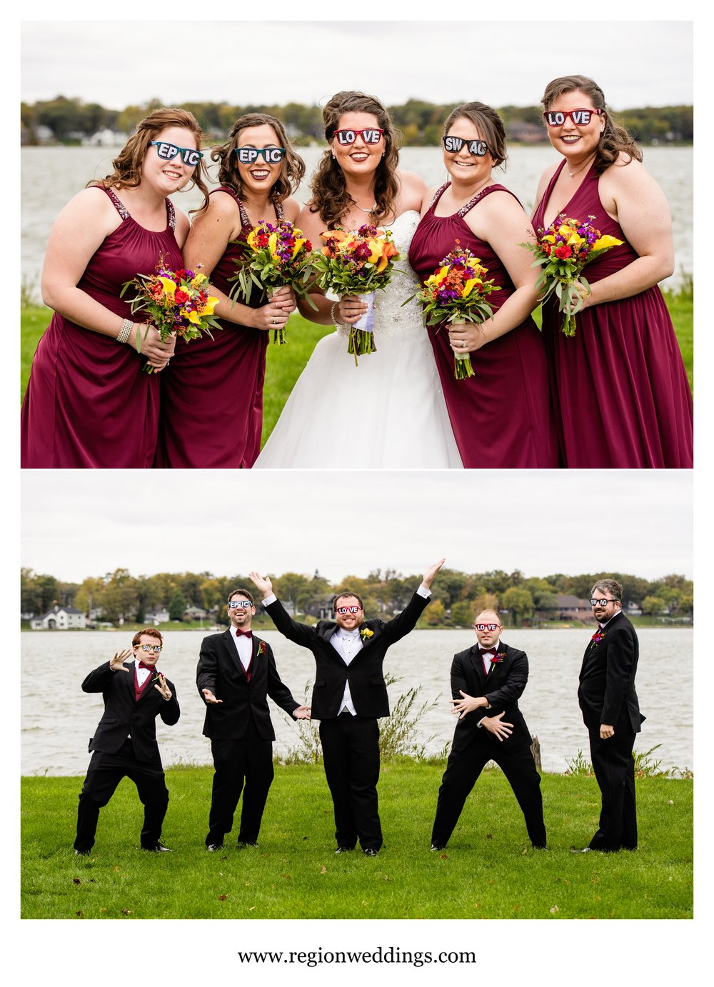 Fun wedding party photos with sunglasses.