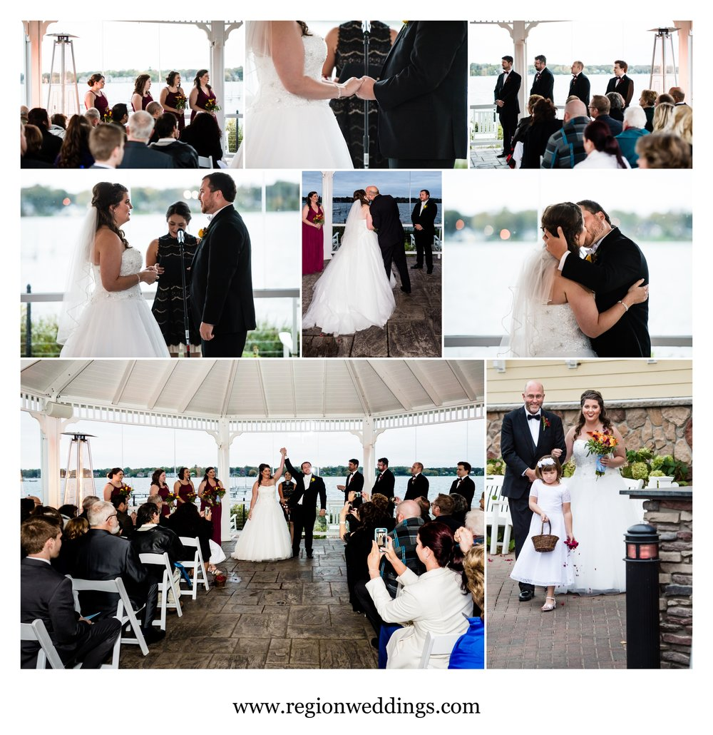 Outdoor Fall wedding ceremony at Lighthouse restaurant gazebo.