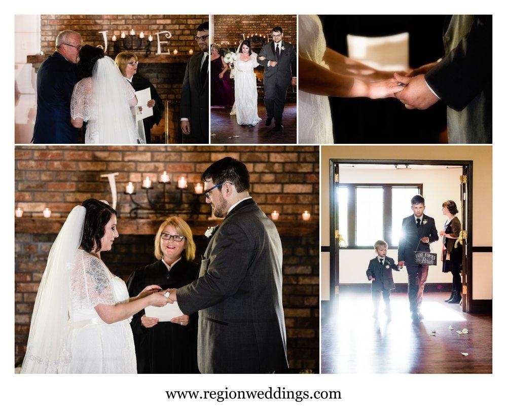 Indoor wedding ceremony at The Spa wedding venue.