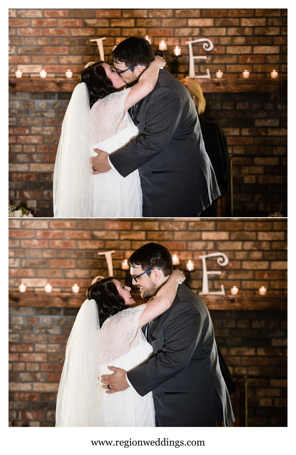 First kiss for the bride and groom.