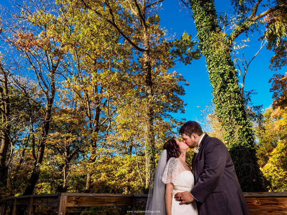 Fall wedding photo at The Spa in Porter, Indiana.