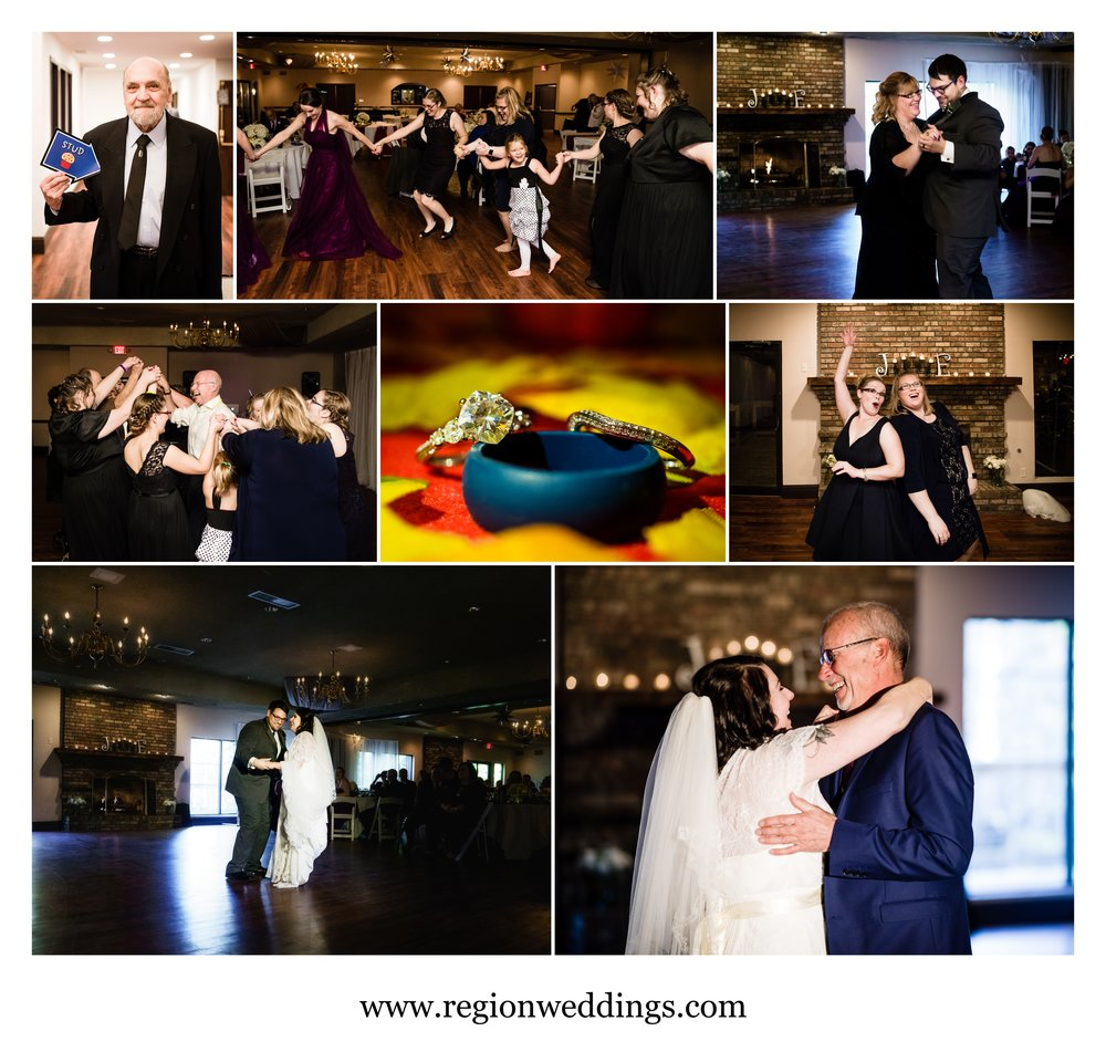 Dance floor fun during a wedding reception at The Spa.