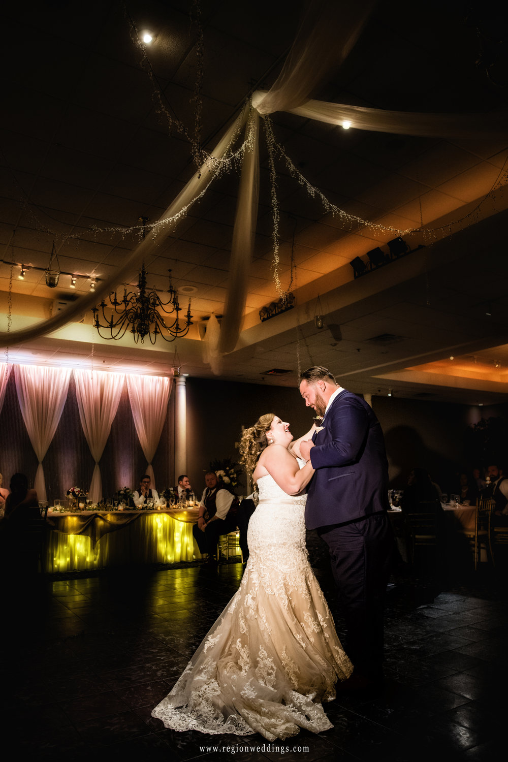Bride and groom first dance on the beautiful Aberdeen Manor ballroom.