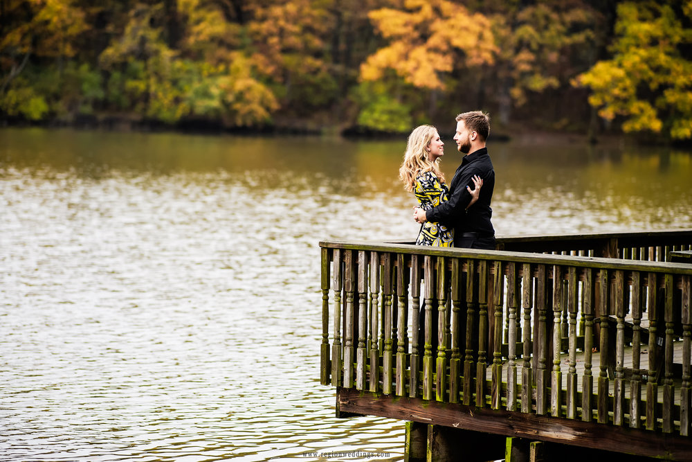 Romantic embrace on the pier at Lemon Lake County Park.