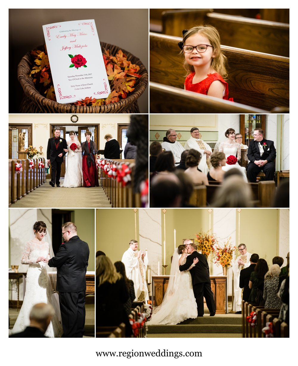Fall wedding ceremony at Holy Name Catholic Church.