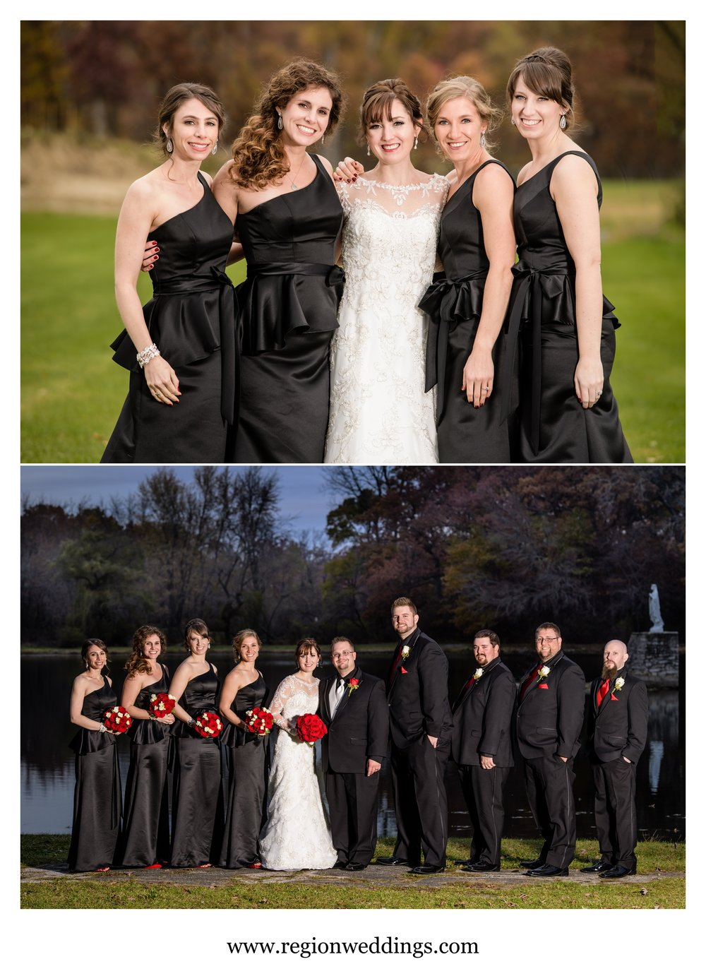 Fall wedding party photos in Cedar Lake, Indiana.