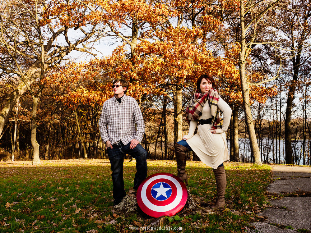An engaged couple fights crime in the woods of Crown Point.