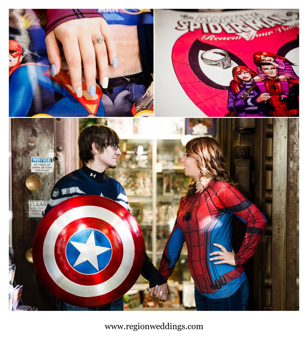 Comic themed engagement photos at Chemshaw 13 Donutz and Comics.