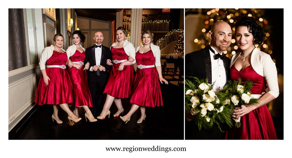 The grooms-maids kick up a leg for some fun wedding photos.