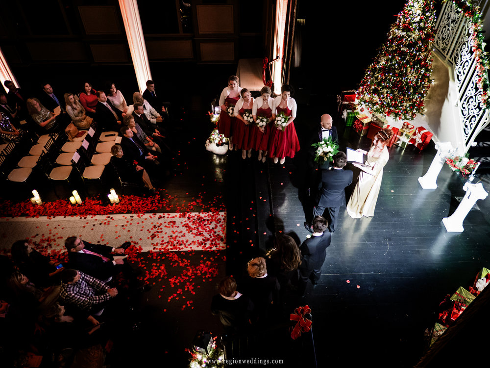 A view from above during a winter wedding ceremony at Uptown Center.