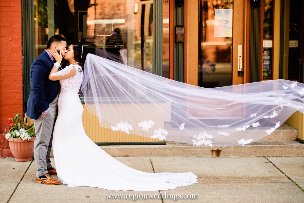 Romantic wedding photo in downtown Michigan City.