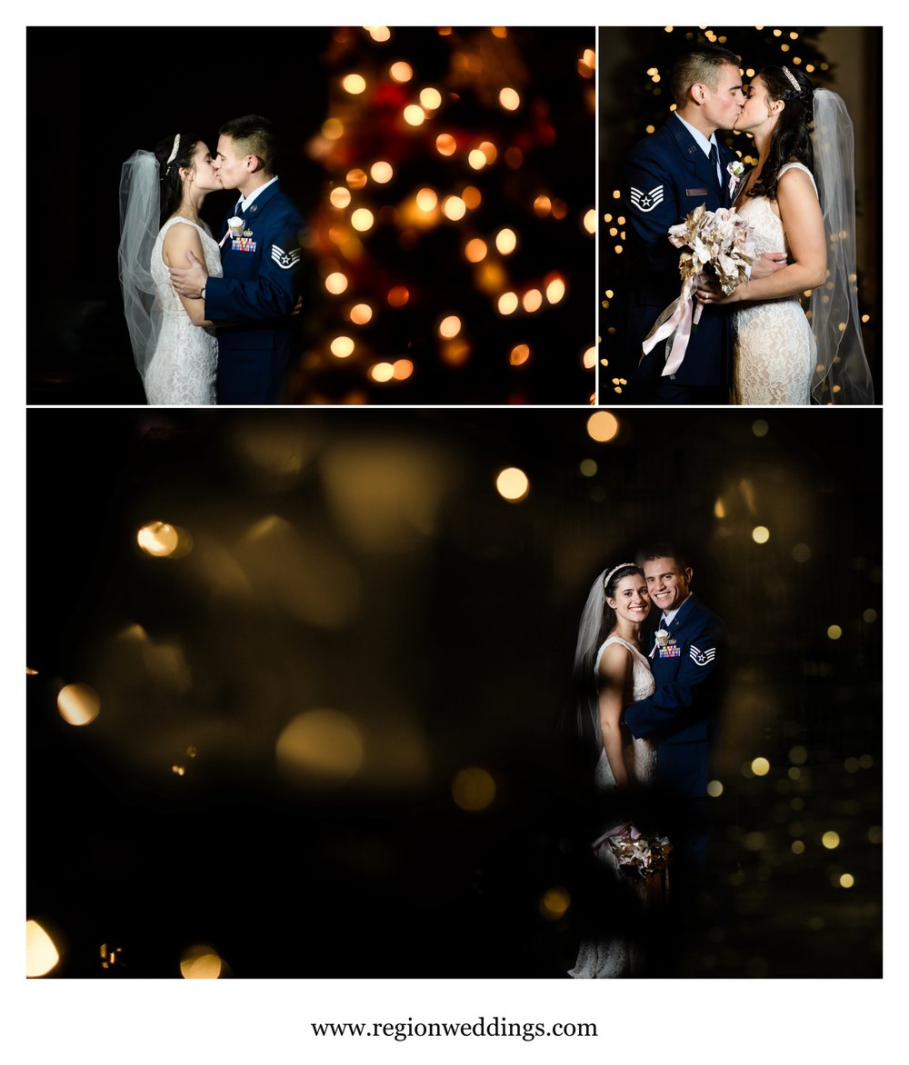 Wedding pictures using the holiday lights at Bethel Church.