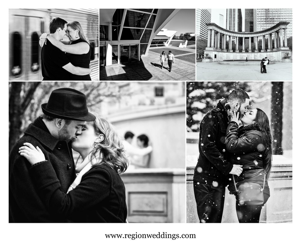 Romantic black and white engagement photos.