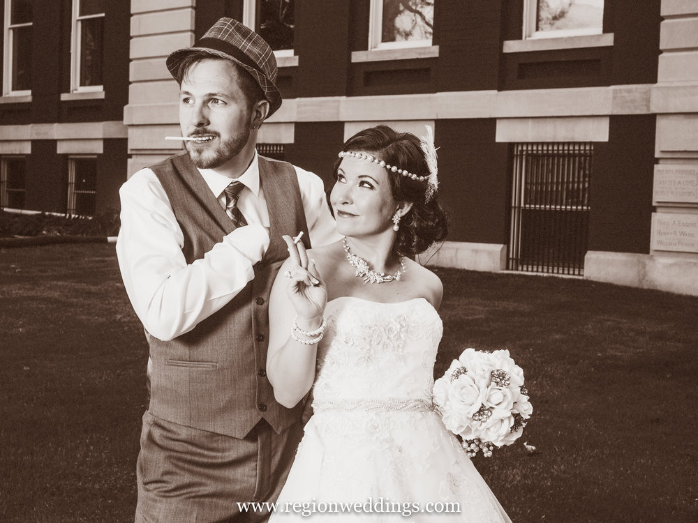 Bride and groom take on a vintage look for their 1920's themed wedding in Crown Point.