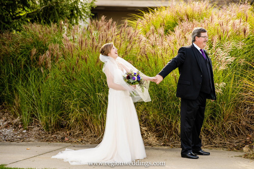 First look with the bride and her Dad at Sand Creek Country Club.