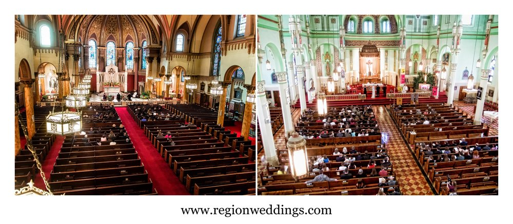 Balcony photos of church weddings at St. Andrew's and St. Stanislaus.