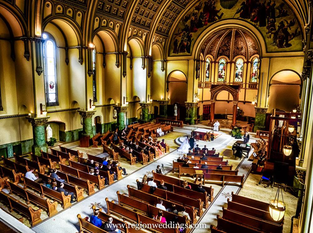 Wedding from the balcony at St. Josaphat Church in Chicago.