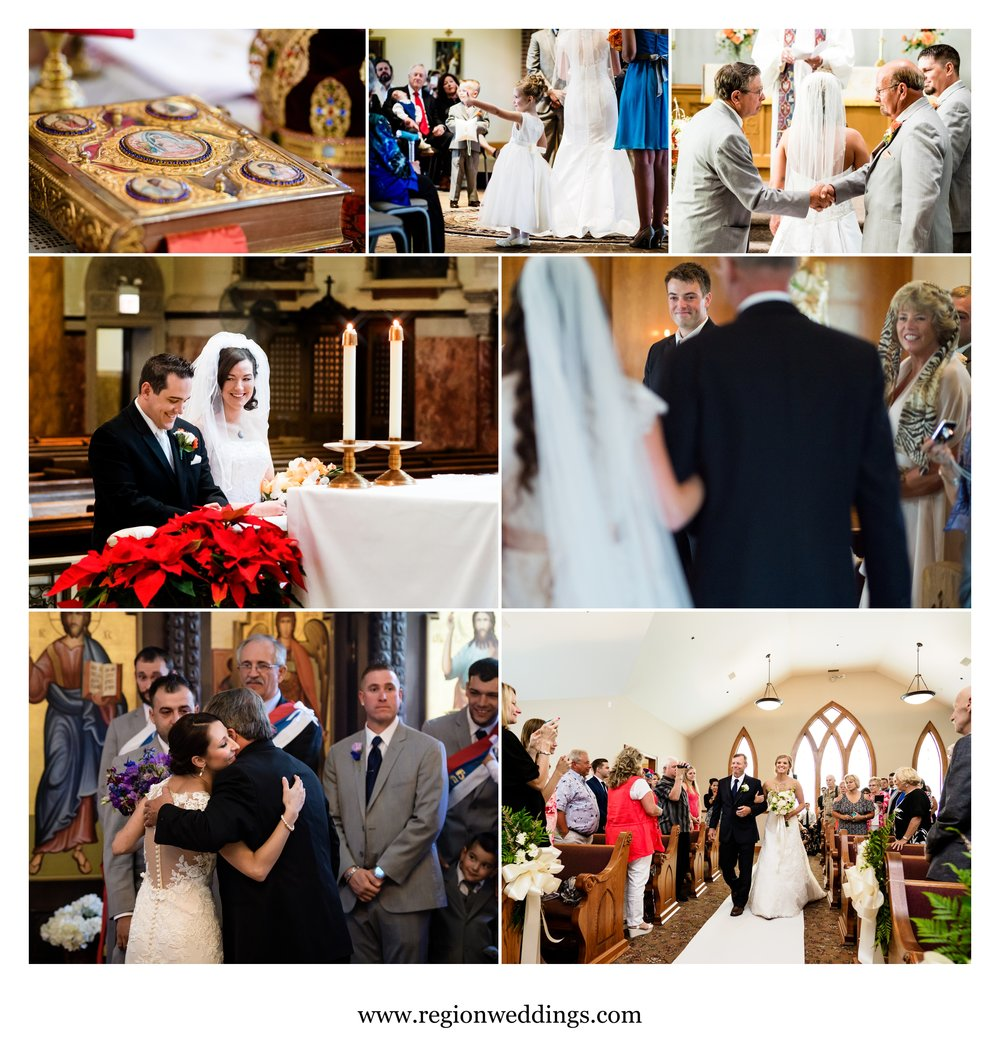 Moments at various church wedding ceremonies in Northwest Indiana and Chicago.