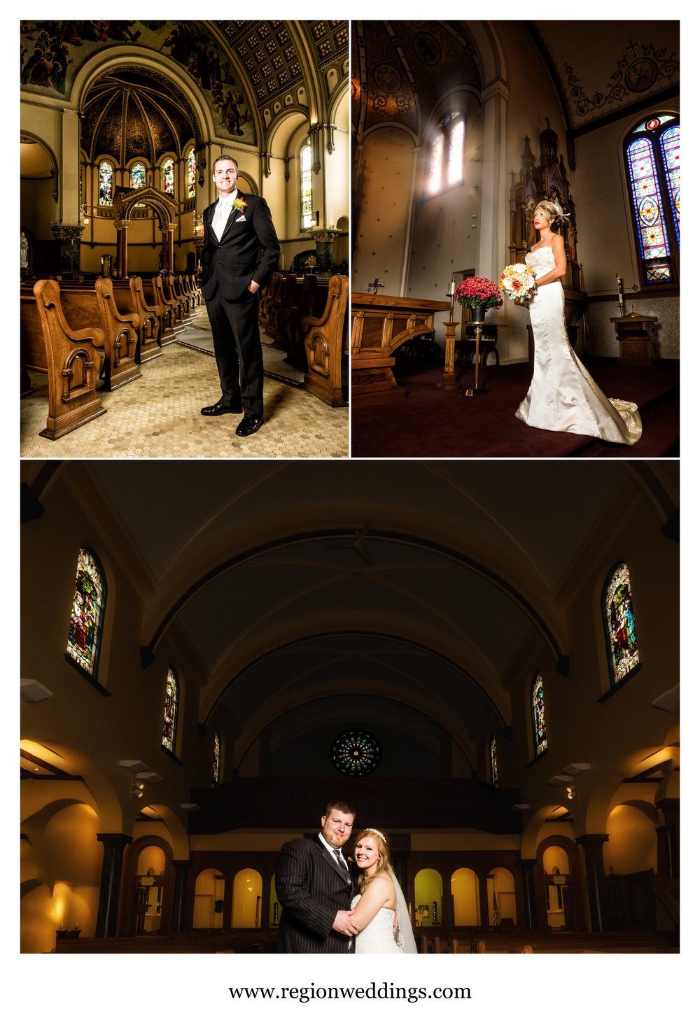 Bride and groom church wedding portraits.