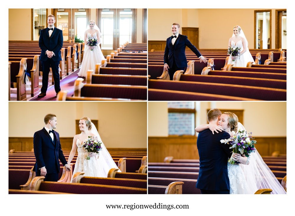 First look for the bride and groom at Faith United Reform Church.
